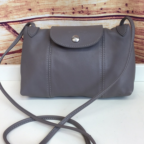 Longchamp Grey Leather Le Pliage Cuir Crossbody